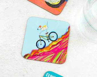 Mountain Biking Coaster - MTB Gift - Roadie Gift - Biking Coaster - Dog Gift - Dog Gifts - Gifts For Him - Funny Dog Gift - Bike Gift