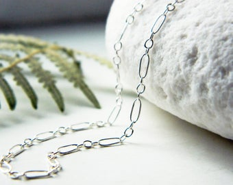 Handmade Delicate Sterling Silver Necklace Chain - Shiny/Oxidized -Custom Length- by Quintessential Arts