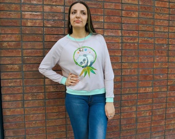Sweet sleeping panda and dream catcher. Women's Sweatshirt Sweater Jumper. Casual style, single copy, hand painted