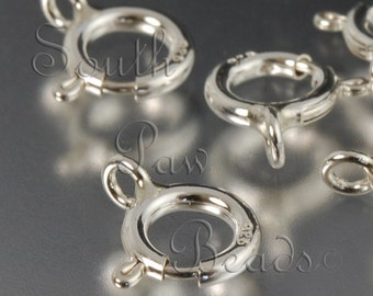 Sterling Silver Clasp 7mm Spring Ring clasp Closed Loop clasp (5)