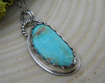 Snowville Variquoise -  sterling silver - pendant necklace - oxidized and rustic
