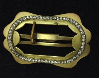 Vintage Brass Buckle with White Rhinestones