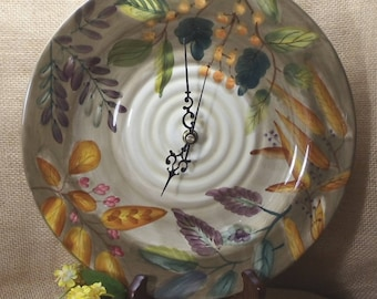 Unusual Plates Upcycled into Wall Clocks, with Wall Hanger,Autumn Colors, Orange, Yellow, Green#C6068, Handmade Plate Clock