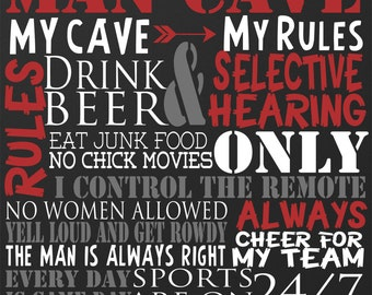 Custom MAN CAVE RULES sign - you pick colors & Size!  Put his name on the top, great decor for any man cave or office!