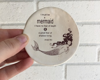 Ring Holder, Jewelry Dish, Annais Nin, I Must Be A Mermaid, White Handmade Pottery Free Shipping