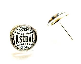 Talk baseball to me earrings, Baseball Earrings, Baseball Jewelry, Baseball Earring Studs, Glass Stud Earrings, Baseball Jewelry for Women