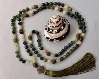 Moss Agate Mala Necklace New Jade Ocean Jasper Knotted 108 Meditation Beads Yoga Jewelry Yoga Gift