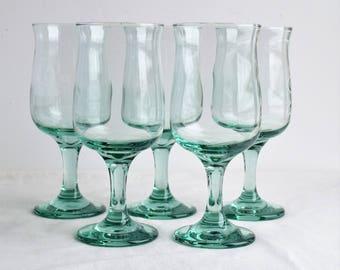 Set of 5 Libbey Green Tulip Wine Glasses / Green Wine Glasses / Vintage Glassware
