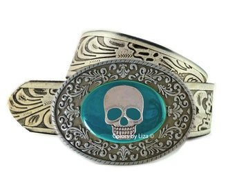 Skull Head Belt Buckle Inlaid in Hand Painted Teal Enamel Belt Buckle for Snap Belts Tropical Accessory Custom Colors Available