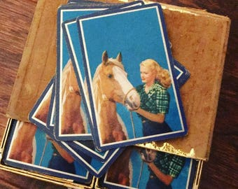 Vintage playing cards of pretty palomino pinto horse and pinup for your cowboy...