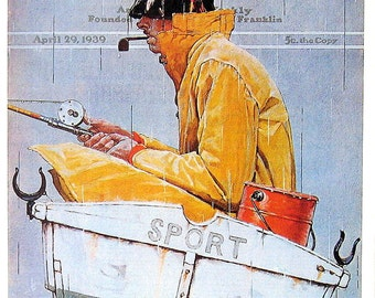 Sport - 1976 Norman Rockwell Print - Saturday Evening Post Cover Reproduction - 14 x 10