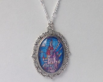 Beauty and the Beast castle necklace