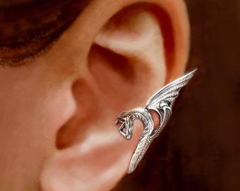 Sea Serpent ear cuff ear cuff Sterling Silver earrings Dragon jewelry Dragon earring Sterling silver ear cuff Small clip for men women C-054