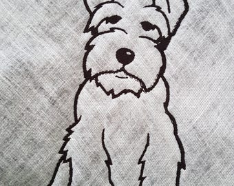 Miniature Schnauzer. Schnauzer.  Dog.  Machine Embroidery Design. Embroidery Design.