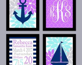 Purple and Teal Nursery Art - Nautical Girl Nursery Art - Birth Announcement - Pink Navy Nursery Art