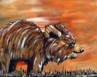 Brown Bear painting, Original Acrylic Canvas Painting, Abstract Handpainted Wildlife Wall Decor, Impressionism Bear Painting, Unique Gift