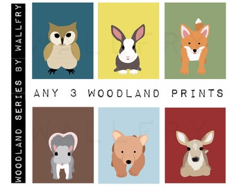 Forest nursery décor. Woodland prints for kids.  Nursery wall art for children animal art. SET OF ANY 3 Custom nursery art prints by WallFry