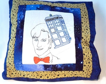 Quilted Doctor Who Pillow Case Eleventh Doctor and TARDIS