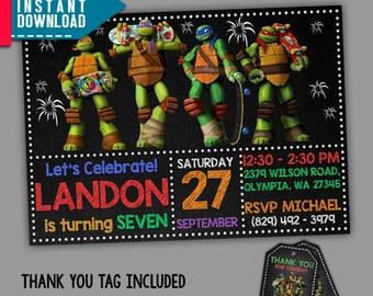 TMNT Invitation, Teenage Mutant Ninja Turtles Birthday, Editable PDF Template, Instant Download, Editable Invitation, FREE Thank You Tags