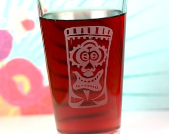 Happy Ape Tiki Etched Sandblasted Pint Glass, tiki gift, holiday gift, gift under 20