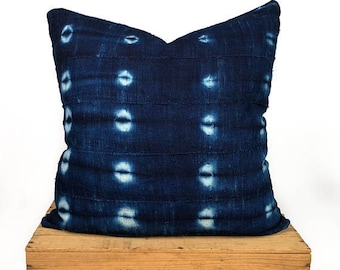 "18"" Inch Indigo African MudCloth Pillow Cover"