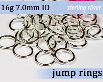 16g 7.0mm ID sterling silver jump rings -- 16g7.00 jumprings 925 links
