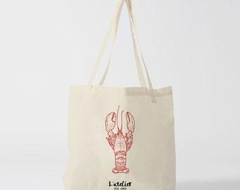 X9Y Tote bag lobster tote bag, shopping bag, purse, diaper bag, for classes, shopping bag, market bag, beach bag