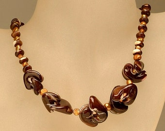 Jewelry Necklace Shell-pearls necklace Delicate necklace Brown necklace