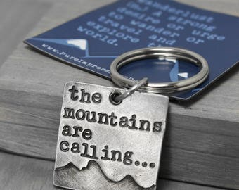 Mountains Key Chain, Mountain Range Key Chain, The Mountains Are Calling Hand Stamped Key Chain, Handstamped Key Chain, Inspiration Quote