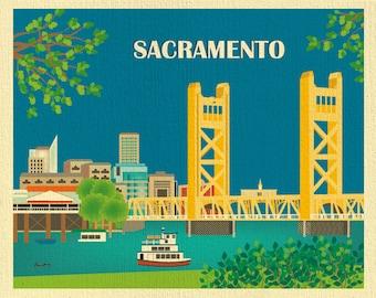 Sacramento Skyline Art Print, Sacramento Wall Art,  California State Capital, Tower Bridge, Horizontal Sacramento Art Print - style E8-O-SAC