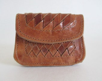 Woven Leather Small Change Purse Snap Well Love Bohemenian
