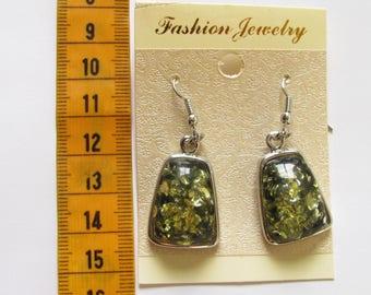 Trapeze imitation green amber earrings