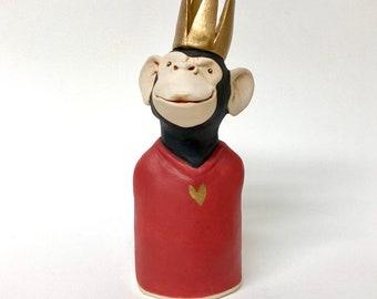 ceramic monkey sculpture