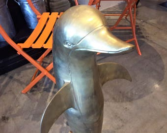 "Huge Solid Brass Dolphin Statue Standing 33"" Beach Ocean Front Home Decor Lanai Patio"
