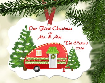 Personalized Our First Christmas as Mr. and Mrs. Camper Ornament~ Camper Ornament ~Christmas tree ~Christmas Ornament ~Happy Camper