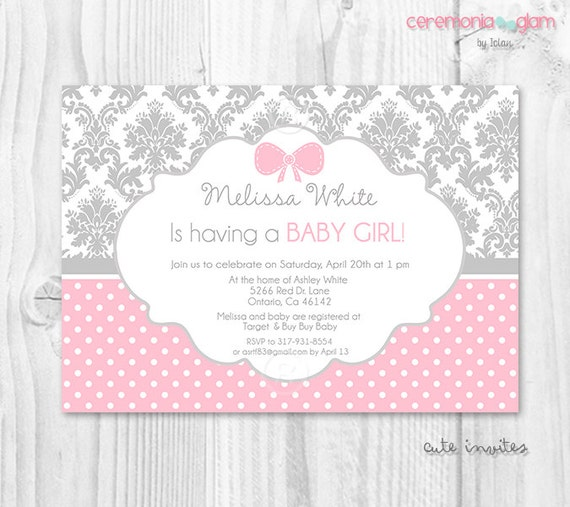 Grey Damask Pink Polka Dot Girl Baby Shower Invitation Girly