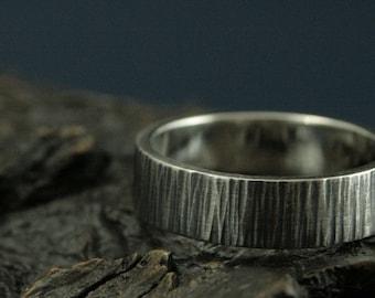 Rustic Wedding Band - Tree Bark Ring - Wood Textured Band - Men's Rustic Ring - Bark Textured Ring - 6mm Wide Bark Band - Silver Bark Band
