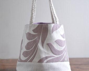 Susan Bucket top handle bag - reversible double sided purple color small bucket handbag. everyday wear. Ready to ship