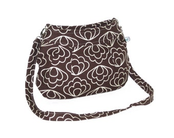 Organic Handmade Little Sophisticate Cross Body Sling Purse - Brown Blossom - Free Shipping