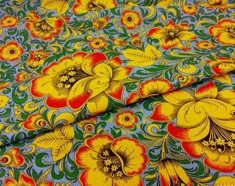Russian Cotton, Folk print Khokhloma on Sky Blue, 150cm/59in wide