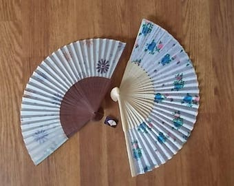 Japanese~Asian~Silk and Bamboo~Hand Fans~Purse Fan~Folding Fan~Set of Two~Collectable Accessorie           c