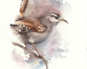 "Original watercolor painting bird portrait wren kid's room decor home decor 8x10"""