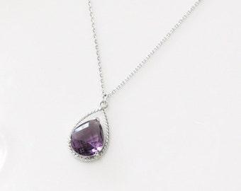 Amethyst purple crystal drop necklace, birthstone of February