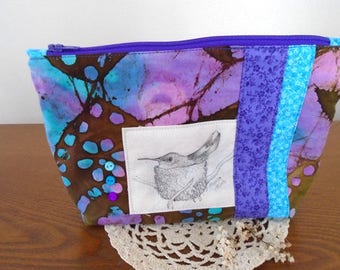 Zippered lined bag, cosmetic pouch, original drawing, hummingbird, Monica Minto