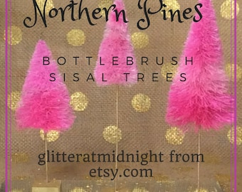 Bottlebrush Trees ( Set of 3 ) Pink Ombre Northern Pines !