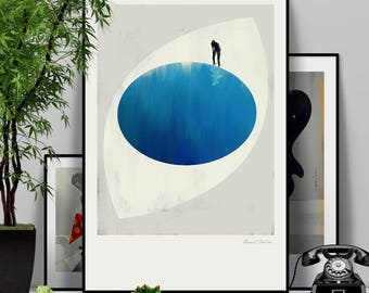 The Deep. Original illustration art poster giclée print signed by Paweł Jońca.