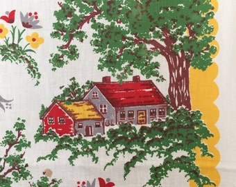 Vintage Colorful  Linen Kitchen Towel