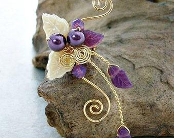 Sugar Plum Fairy Ear Cuff, No Piercing, Fairy Jewelry, Fantasy Vine Wrap, Gift Idea, Gift for Her Stocking Stuffer
