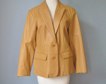 Tan Leather Blazer / Vtg 80s / Margaret Godtrey Tan Leather Blazer / Size 8