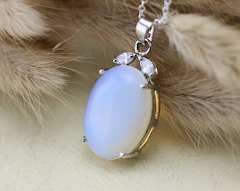 Antique Silver Victorian Style Moonstone Necklace Wedding Jewelry Bridesmaid Gift Christmas Gifts C183n-1_s